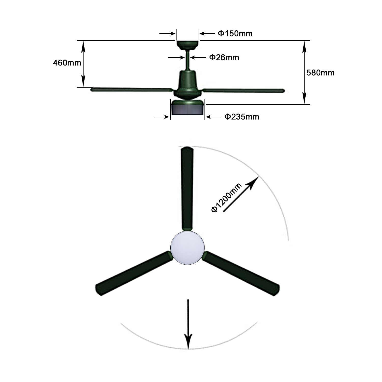 remote control ceiling fan ac 48 u2019 u2019 and 52 u0026quot  3 blade with 18 w led light 3 speed