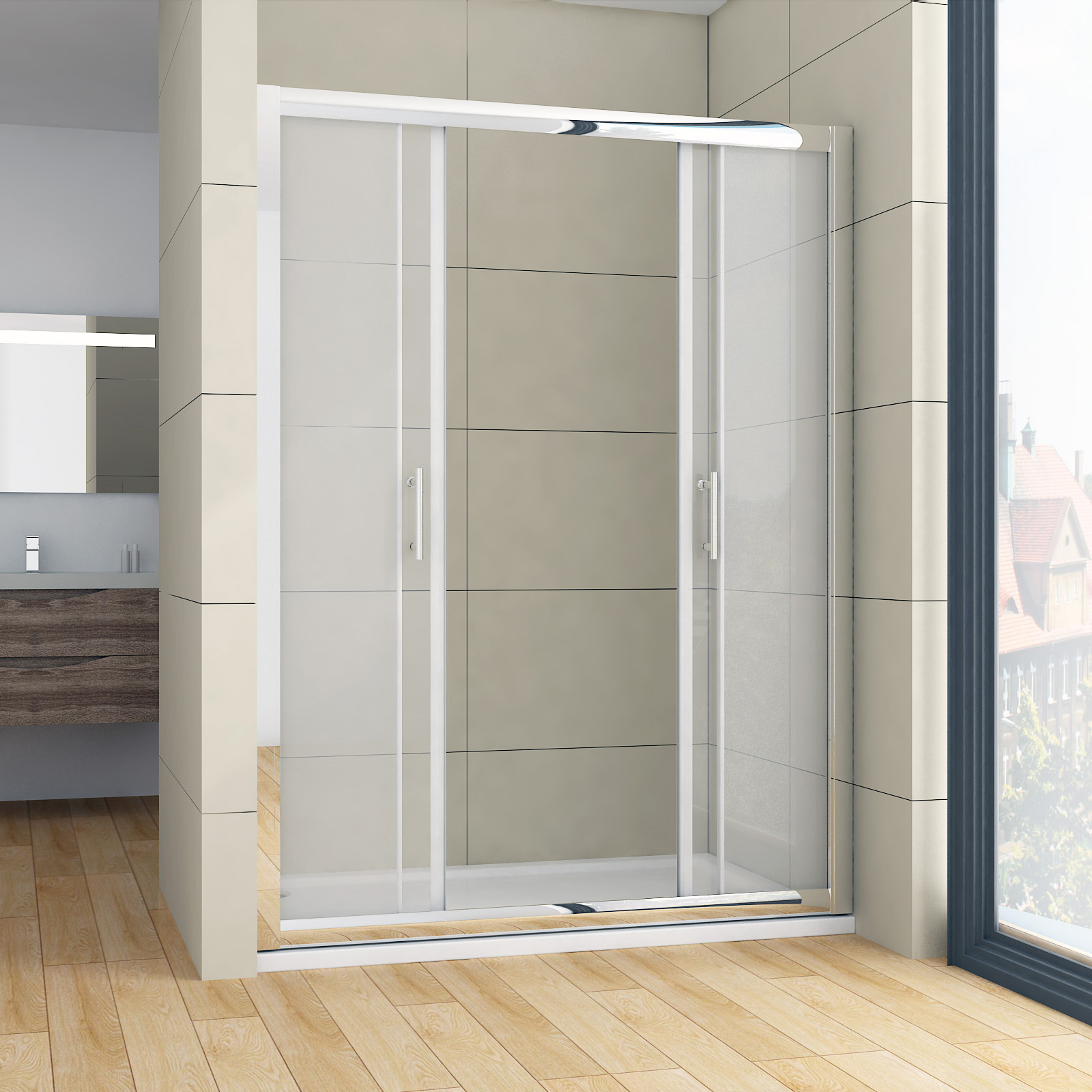 Brand new double sliding doors wall to wall shower screen for New double door