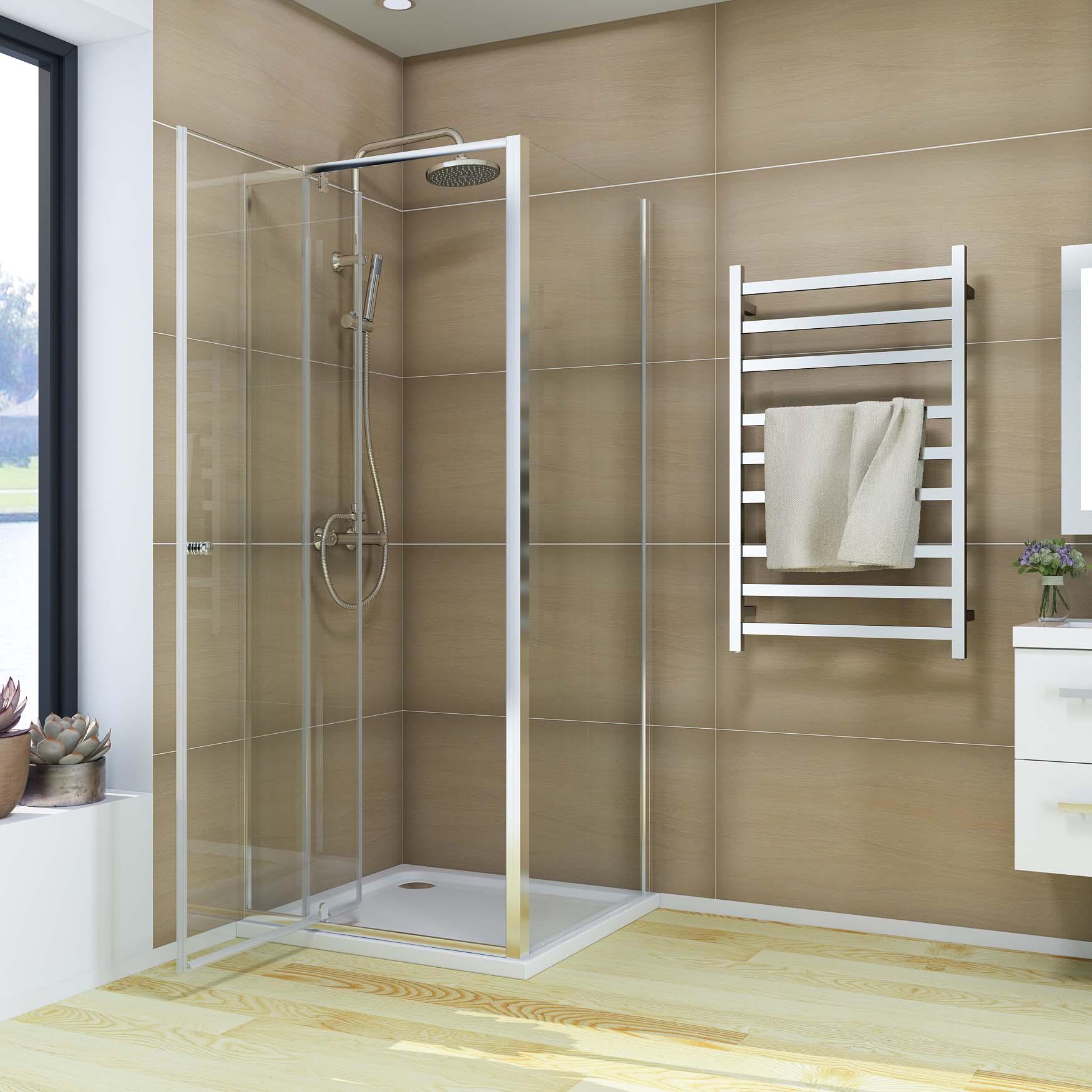 Semi Frameless Shower Screen Pivot Door 1200x900mm With