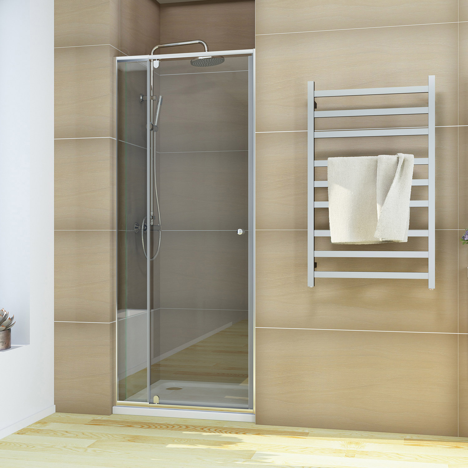 800 1200mm Shower Screen Semi Frameless Pivot Door Wall To