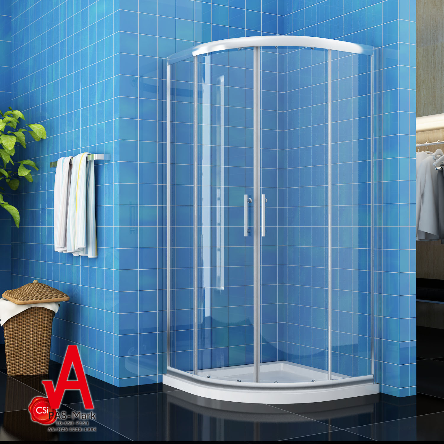 1000X1000X1900mm Curved Shower Screen Enclosure Cabin Square ...