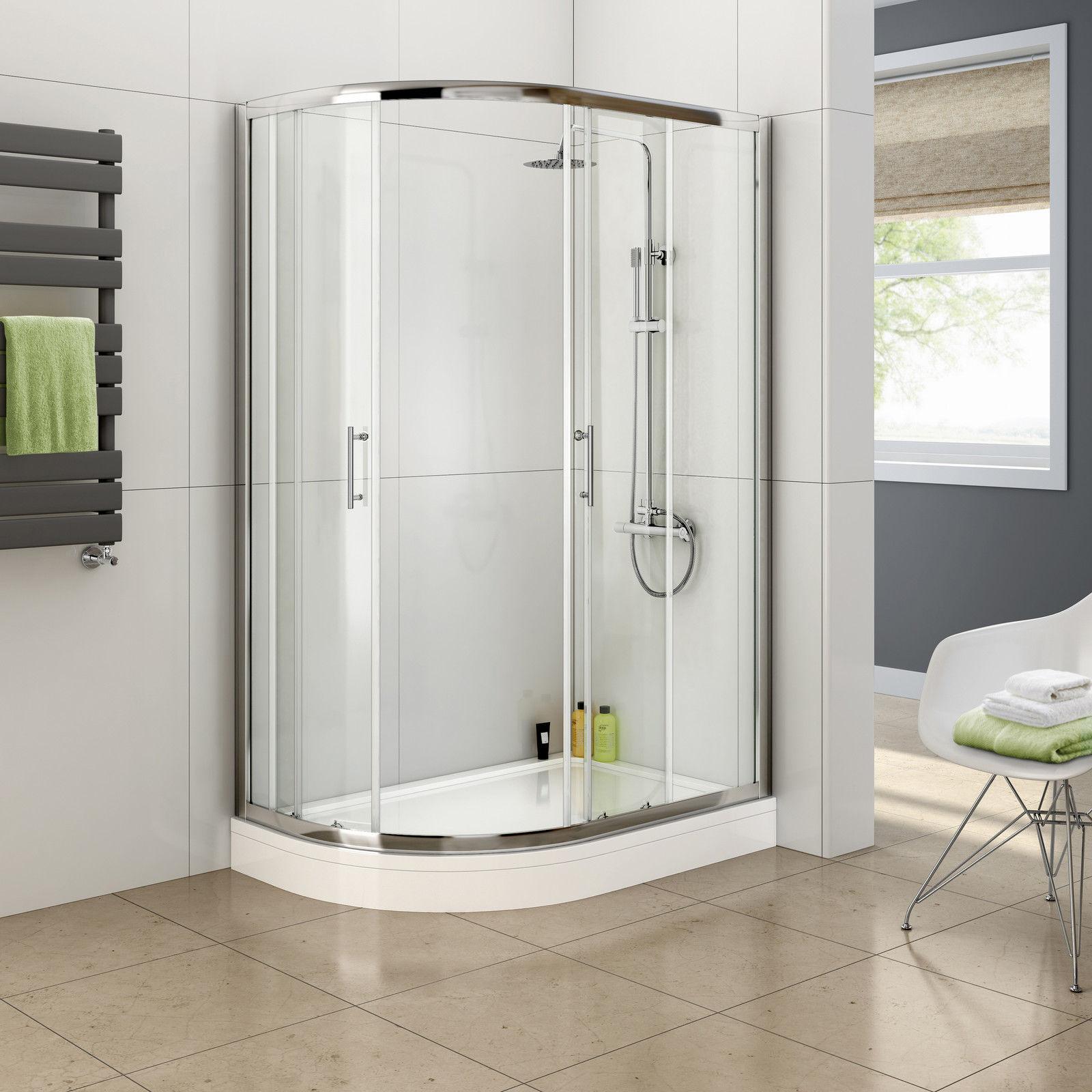 Corner Shower Screen Sliding Door Curved Offset Quadrant