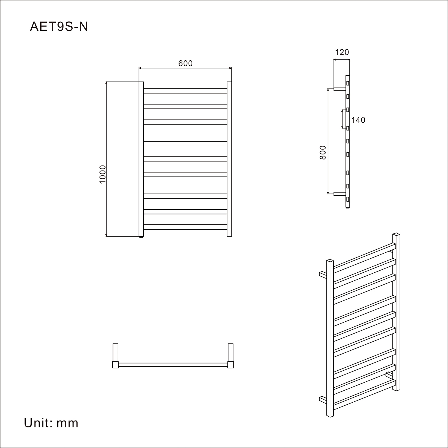 Stainless Steel Heated Towel Rail Warmer Clothes Electric 9 Bar Rack Wiring Diagram