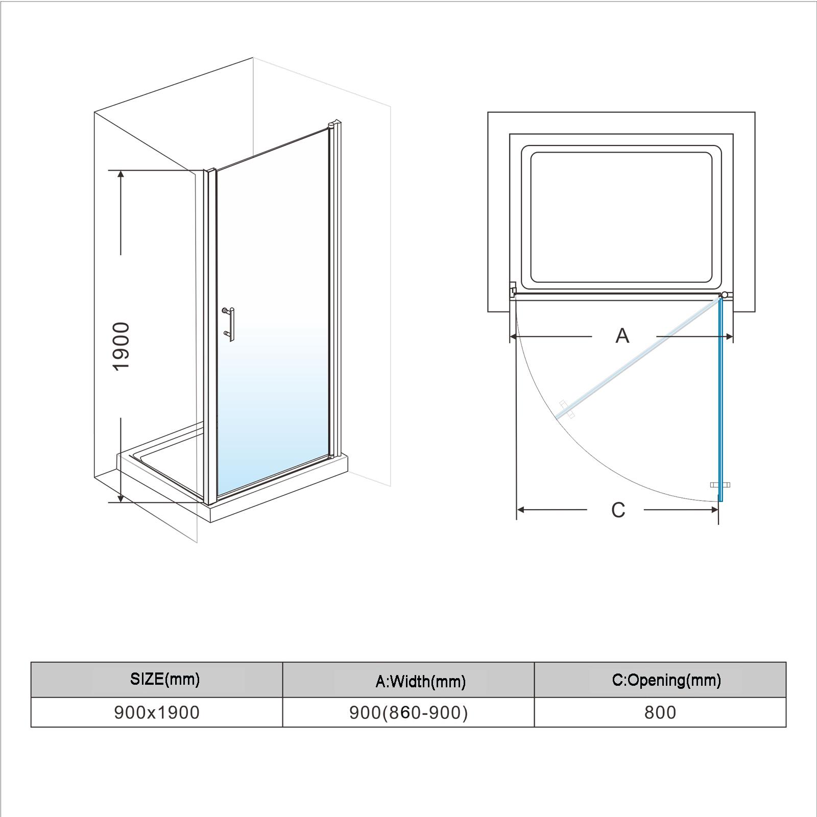 900x1900mm Frameless Bathroom Shower Screen Pivot Swing