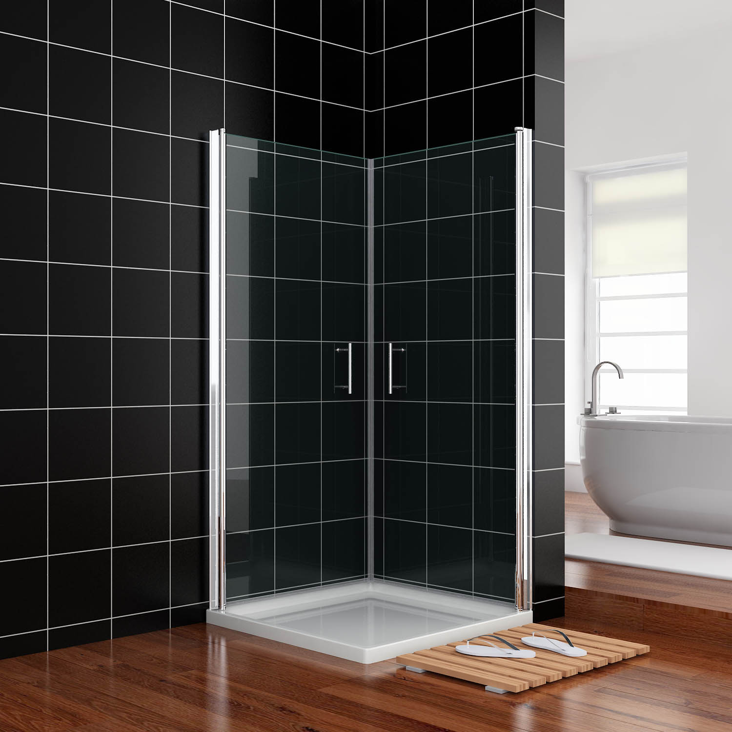 Details About 740x740mm Frameless Bathroom Shower Screen Double Pivot Swing Door Wall To Wall