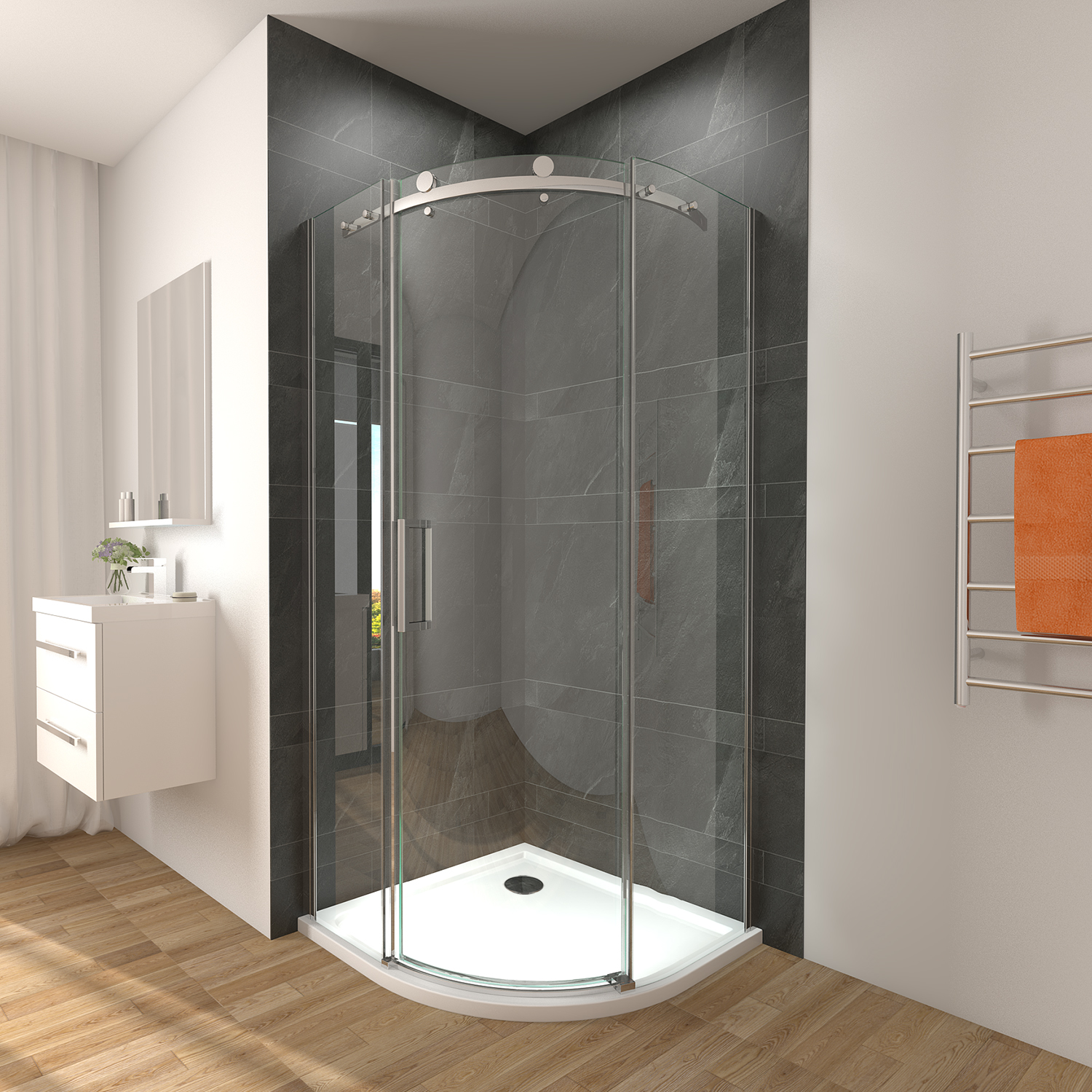 Details About 900x900x1950mm Frameless Curved Shower Screen Enclosure Round Sliding Door