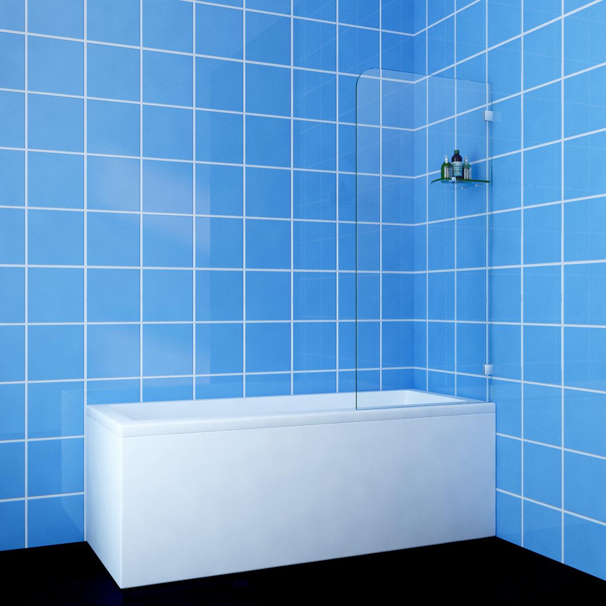 Over Bath Panel Frameless Fixed Square Shower Screen