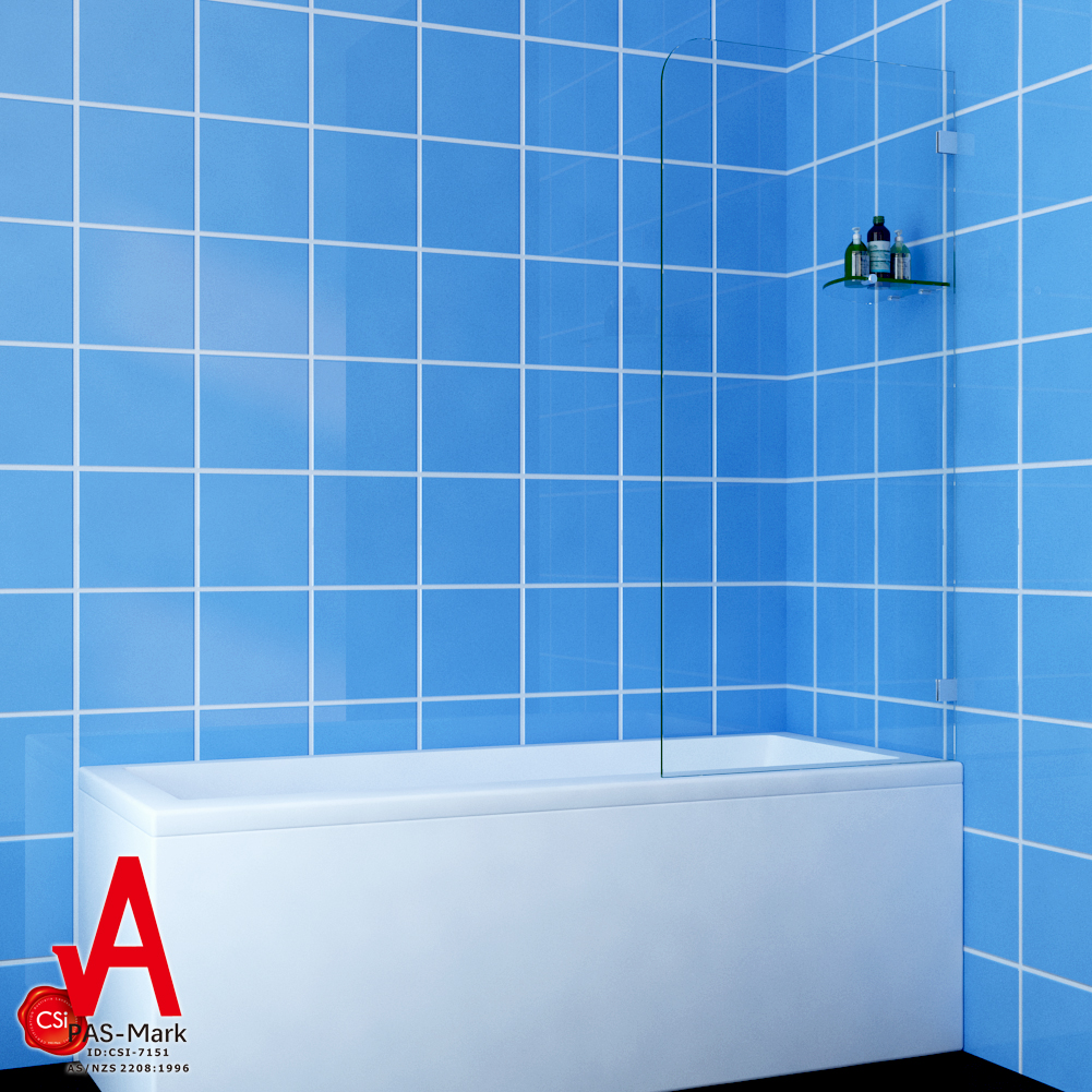800x1450mm Frameless Square Shower Screen Fixed bath Panel Fit left ...
