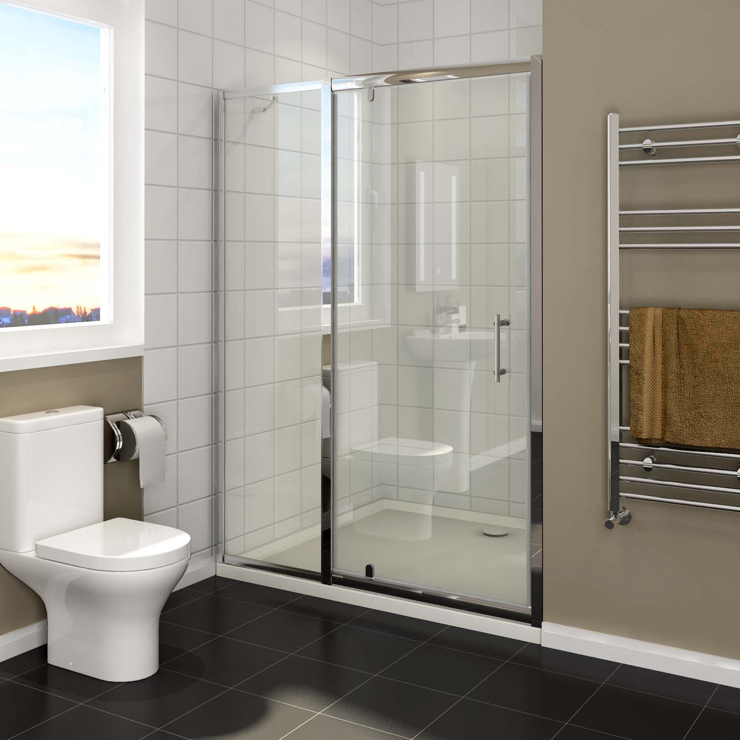 Details About Pivot Door Wall To Wall Shower Screen Bottom Seals Extended Panel 110x190cm