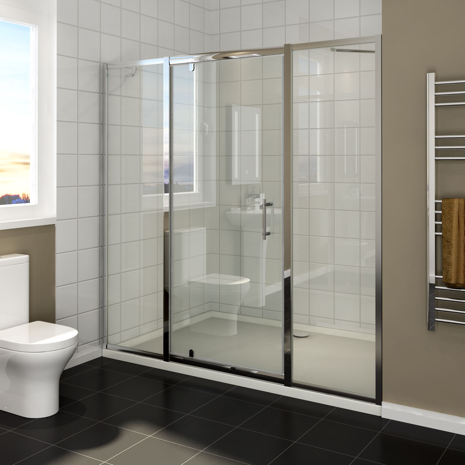 Details About 1060 1600 Pivot Door Shower Screen With Double Extended Glass Panel Wall To Wall