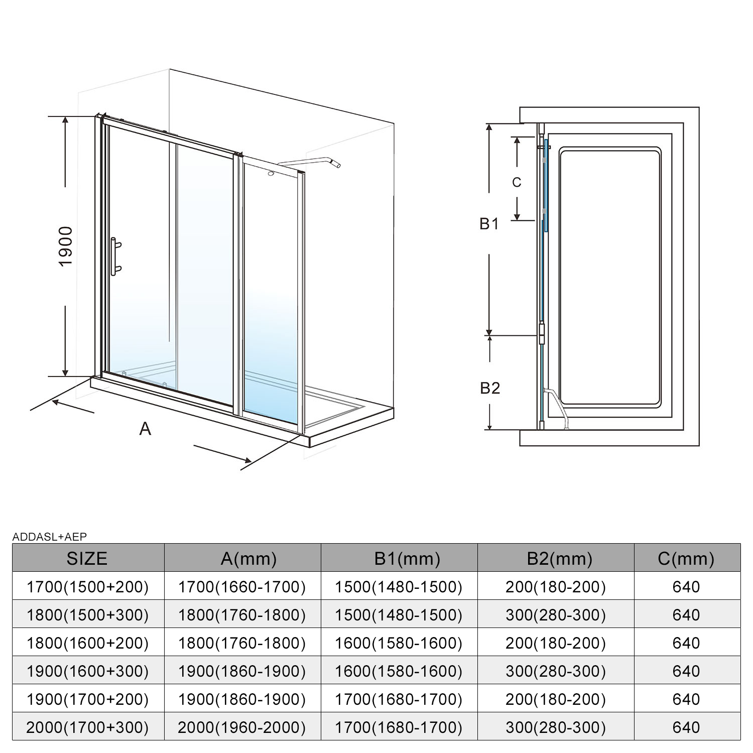 Details about 1700-2200x1900mm Wall to Wall Framed Sliding Shower Door  Adjustable