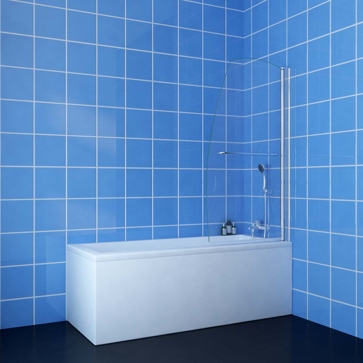 700/800/900/1000x1450mm Over Bath Panel Shower Screen with Heated ...