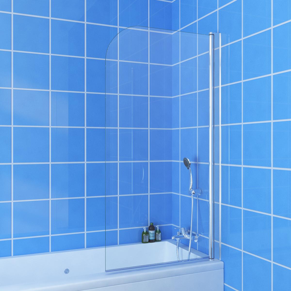 800x1450mm Frameless Over Bath Swing Panel Shower Screen Fit left or ...