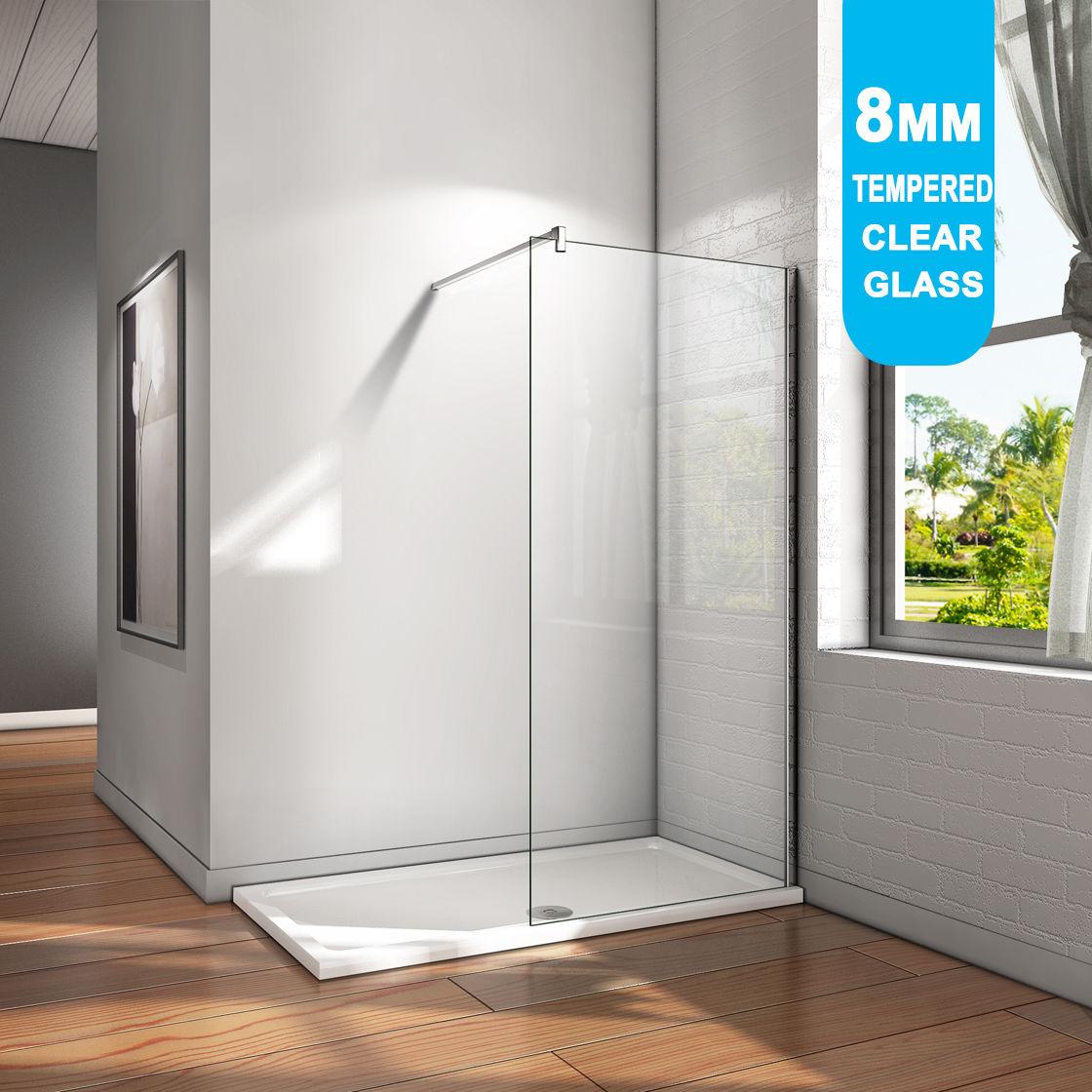 Frameless Shower Screen Enclosure Fixed Panel Walk In 800