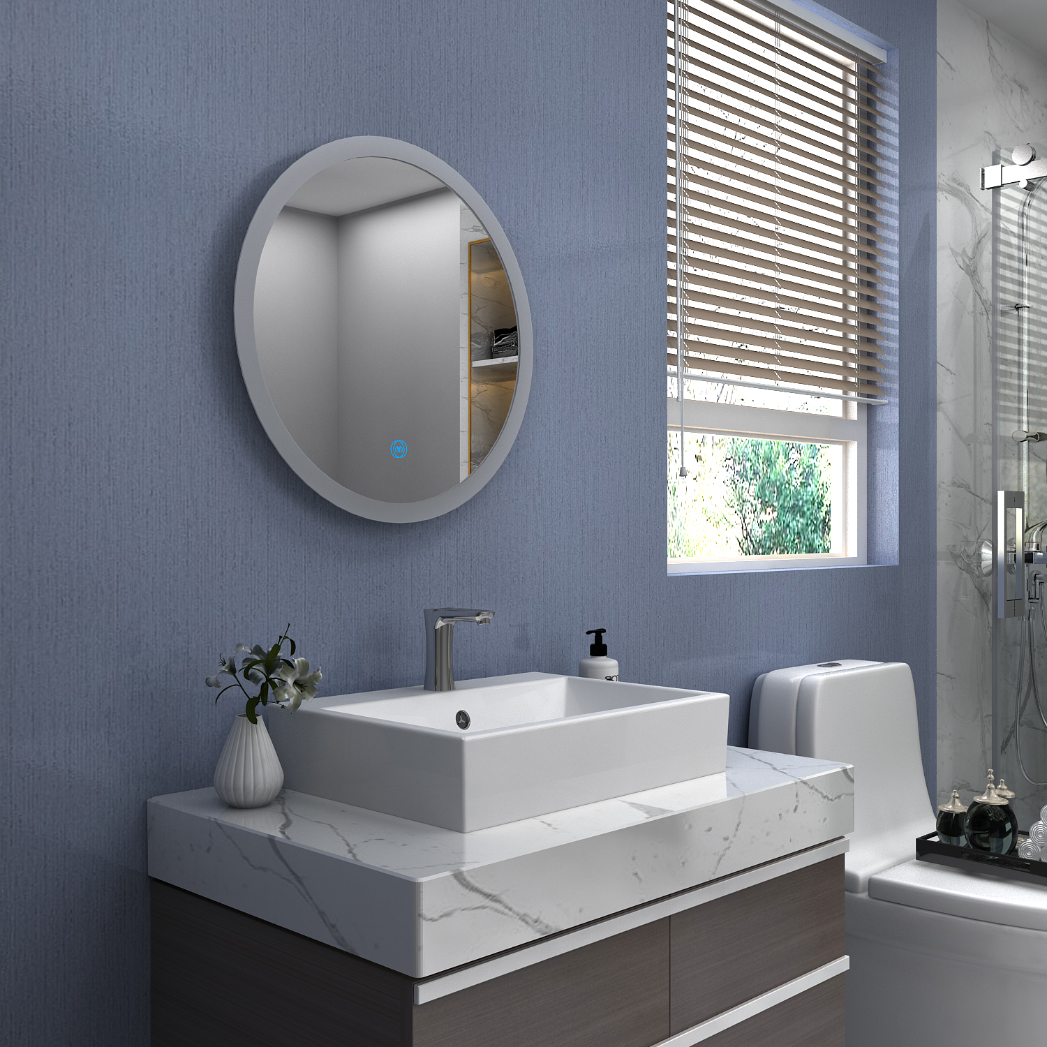 Lighted Bathroom Wall Mirror Large: Bathroom LED Illuminated Mirror Touch Switch Large Wall