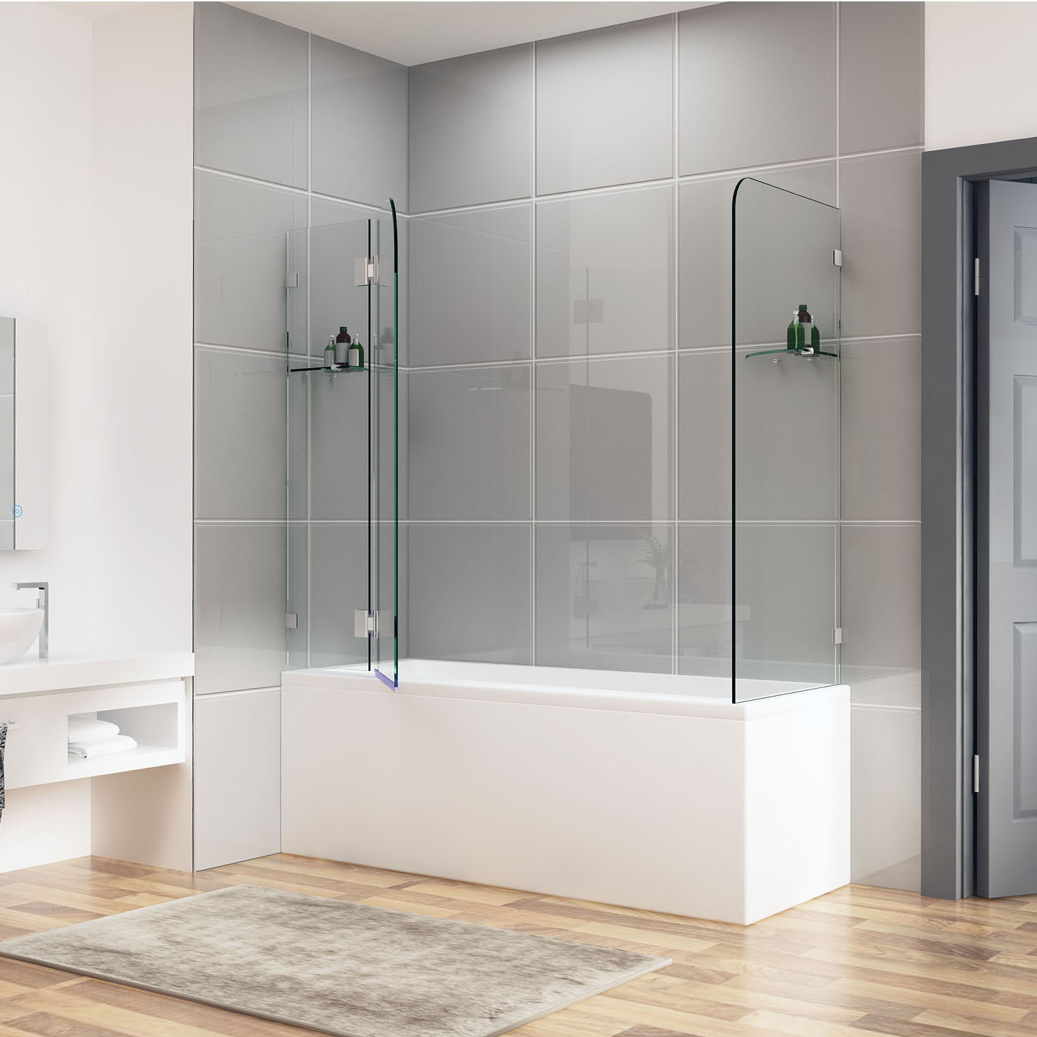 900 1000x700 800 900 Frameless Over Bath Shower Screen