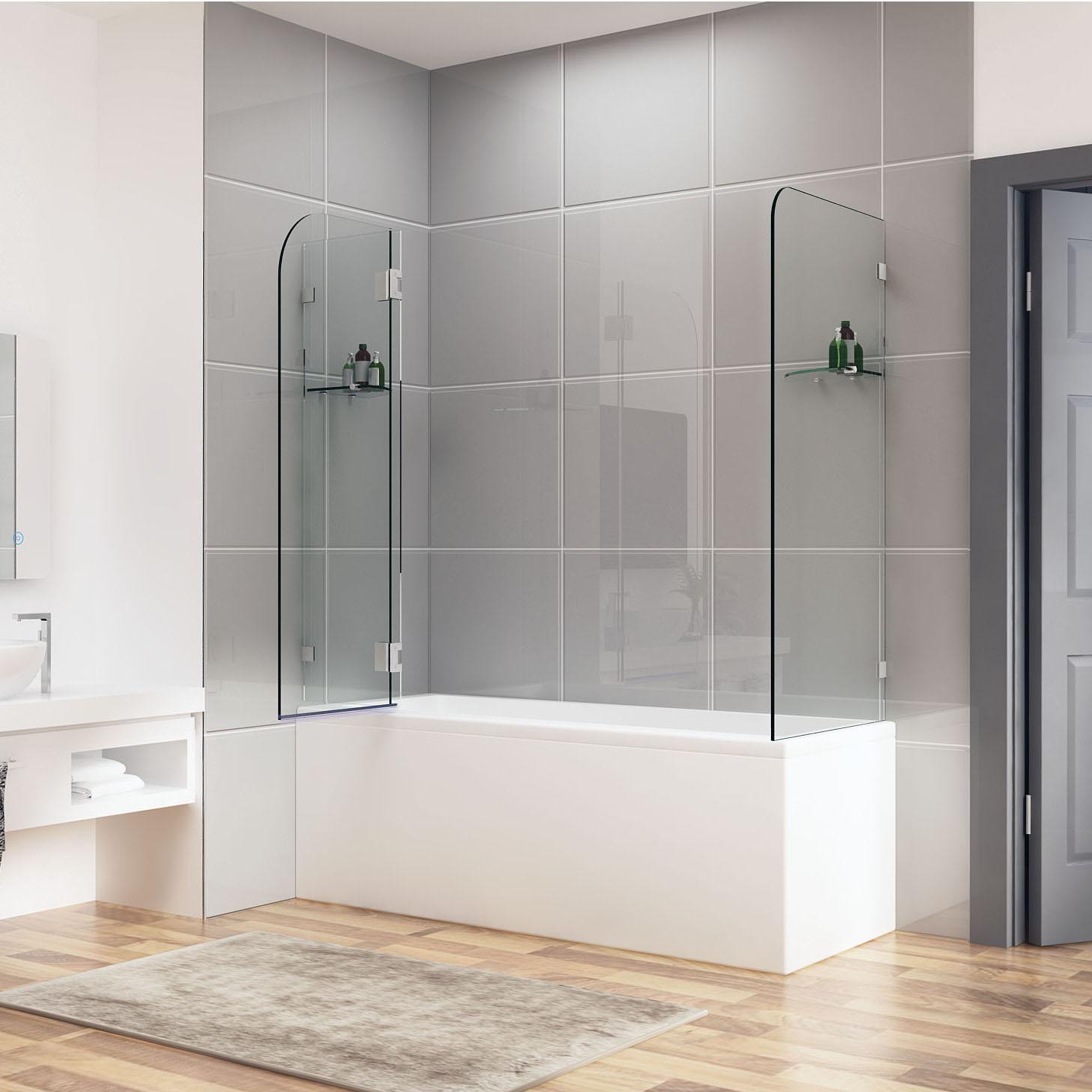 900/1000x700/800/900 Frameless Over Bath Shower Screen
