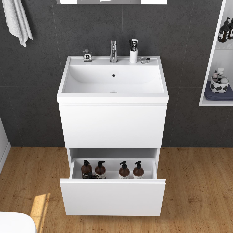 Unit Wall Mounted Bathroom Mirror Cabinet+ Vanity Wash Basin Storage Both 600mm 880923781046