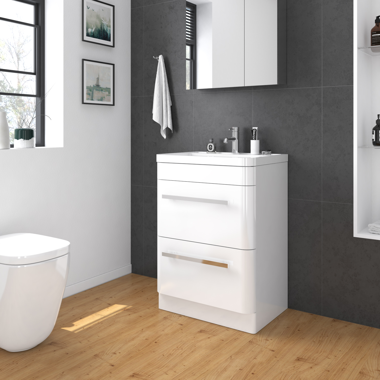 Square Bathroom Vanity Cabinet Storage Artificial Stone Gloss White Freestanding 880925588674